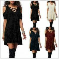 Womens Skirt Choker Long Top T-shirt Lady Casual Party Mini Dress Blouse
