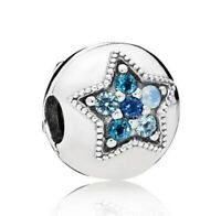 NEW S925 Sterling Silver Bright Star Clip Stopper Lock Charm Bead