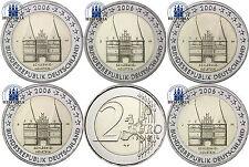 Deutschland 5 x 2 Euro Gedenkmünze 2006 bfr. Holstentor Lübeck Mzz. A bis J