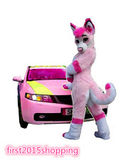pink Wolf Husky Dog Fox Mascot Costume Adult Costume for Halloween/Festival gift