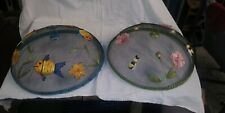 2 VTG 60s large Round Mesh Food Cover Picnic Party Fly Mosquito Metal Domes