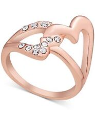 NWT Guess Rose-Gold Metal & Clear Rhinestones Cutout Heart RIng, Size 7