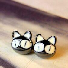 FD1072 Vintage Retro Lucky Black Cat Big Eye Cat Head Earrings Studs Jewelry