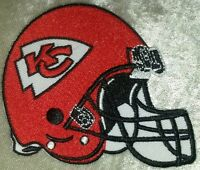 "Kansas City Chiefs Helmet 3.5"" Iron On Embroidered Patch ~FREE Ship!"