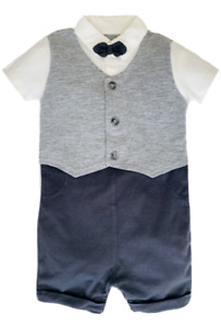 Baby Boys Waistcoat Suit Romper GEORGE Bow Tie Formal Party Birthday Outfit NEW