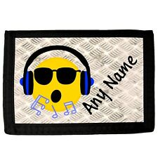 PERSONALISED DJ SILHOUETTE PRINT FAUX LEATHER MENS WALLET BIRTHDAY XMAS GIFT