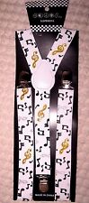 WHITE WITH GOLD,SILVER,&BLACK MUSIC NOTES Adjustable Y-Style Back suspenders-New