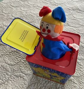 Schylling 1997 Clown Jack In The Box Musical Wind Up Toy Plush Clown CLEAN!