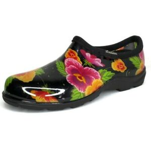 SLOGGERS Women's Size 9 Floral Slip On Ankle High Rubber Garden Shoes USA Made