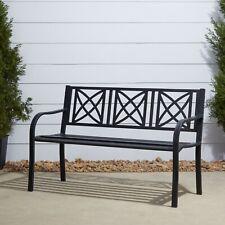 Paracelsus 4-Foot Metal Garden Bench in Black