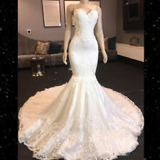 Wedding Dresses Mermaid Bridal Gowns Appliques Strapless Beaded Top Lace Custom