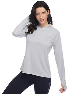 HISKYWIN Womens UPF 50+ Sun Protection Rash Guard Hoodie Long Sleeve Light Grey