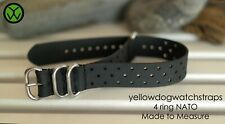 Black Tropical Style Waterproof Rubber Divers NATO ZULU watch strap 17mm - 25mm