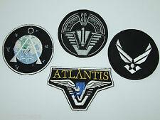 STARGATE ATALANTIS SG1 SET OF 4- Main Team Jacket Patches - SG-1, Chevron & USAF