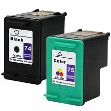 2PKs HP 74 75 Ink Cartridge For Photosmart C4210 C4385 C4599 C4240 C4410 D5363