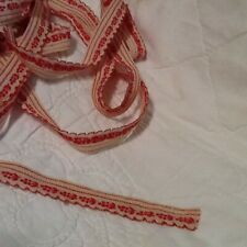 Vintage Turkey Red Cotton Trim Berry And Leaves Pattern