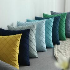 Lattic Cushion Cover Yellow Blue Navy Green Embroidered Lumber Pillow Case Decor