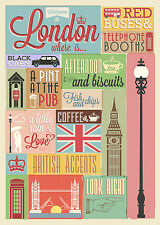 SUPERB RETRO VINTAGE LONDON TYPOGRAPHY CANVAS #415 QUALITY A1 WALL ART PICTURE