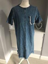 River Island Blue Denim Frayed Shift Dress Size 12