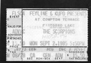 1985 Scorpions Aerosmith concert ticket stub Phoenix AZ Love At First Sting