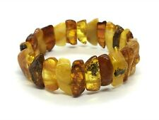 AMBER BRACELET Natural BALTIC AMBER Yellow Cognac Honey Beads Jewelry 15g 11246