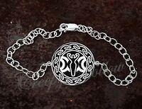 925 Sterling Silver Adjustable Bracelet Triple Moon Goddess Wicca Pagan