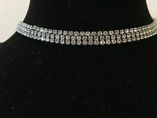 NWT GUESS NECKLACE Womens Silver & Rhinestone 3 Row Fashion Choker GENUINE