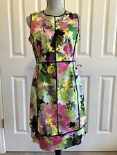 CALVIN KLEIN BRIGHT FLORAL SLEEVELESS SHEATH DRESS SZ 12 MULTI COLOR BLACK TRIM