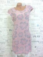 NEU ITALY Sommerkleid Hängerchen Tunika Kleid LEINEN-Optik 38 40 42 Rosa E565