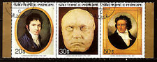 Sao Tome E Principe Strip of 3 #448 A-C Ludwig Van Beethoven F266