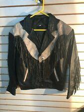 Vintage Men's D'Don Regalon Black Leather Lined Fringe Jacket w/Belt- Size:46