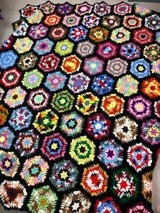 """Vtg Handmade Crochet Multicolor Granny Square Afghan Blanket Hexagon 63"""" x 72"""""""