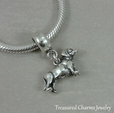 925 Sterling Silver Dachshund Dangle Bead Charm - fits European Bracelets NEW