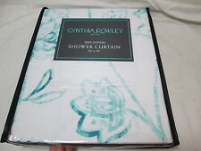 "NEW Cynthia Rowley TEAL GREEN FLORAL Fabric Shower Curtain 72""X72"" Flowers NIP"
