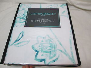"NEW Cynthia Rowley TEAL GREEN FLORAL Fabric Shower Curtain 72""X72"" Flowers NIP"