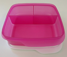 Tupperware Lunch-It Divided Square Lunch Box Snacks Sides Fuschia Kiss Pink New