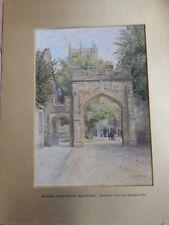 Fritz Althaus (fl.1881-1914 ) ' KINGS  now SHERBORNE SCHOOL  Watercolour DT9 3AP