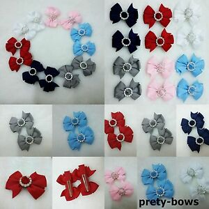 """Pack Of Two 2"""" x 2"""" Gem Pin wheel Mini Clip New Style Bow Hair Clips Pins"""