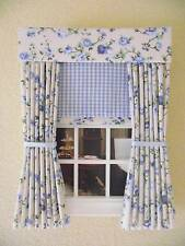 "MINIATURE DOLL HOUSE CURTAINS DRAPES BLUE FLORAL & BLIND 12CM (4 3/4"" WIDE)"