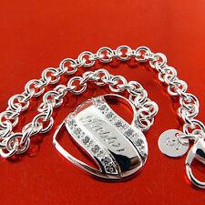 BRACELET BANGLE 925 STERLING SILVER S/F ANTIQUE DIAMOND SIMULATED HEART DESIGN