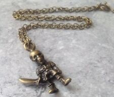 """Bronze Skeleton Man With Sword Toggle Clasp Necklace 22"""""""