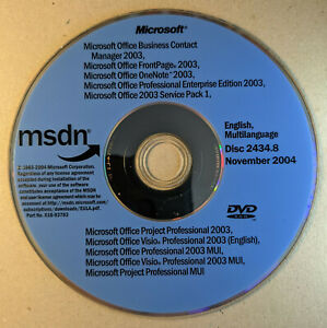 MSDN Microsoft Office Business Contact Manager 2003 etc - DVD only no licences