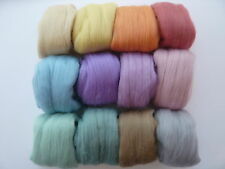 Heidifeathers Merino Wool Tops 'Serenity mix' 12 Colours 300g - Pastel, Felting