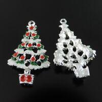 8pcs/lot Multi-Colors Alloy Enamel Jewelry Xmas Tree Pendants Charms Craft 38896