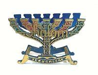Vintage Handmade in Israel Brass Enameled Judaica Menorah Shape Napkin Holder