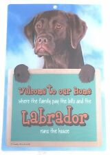 3D CHOCOLATE LABRADOR WELCOME SIGN STUNNING EYE CATCHING 23CM X 15CM DOG SIGN