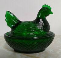 Boyd Green Glass Chicken/Hen on Nest 3 inch Dish From Boyds 1st 5 Years
