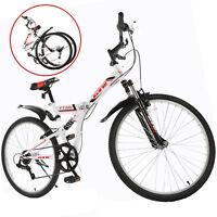 "26"" Folding Mountain Bike 7 Speed Bicycle Shimano Hybrid Suspension Sports White"