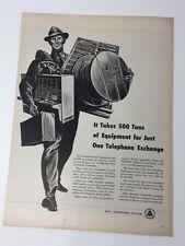 Original Print Ad 1951 BELL TELEPHONE SYSTEM Phone Repair Man Artwork