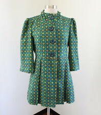 Tulle Cute Geometric Print 3/4 Sleeve Swing Jacket Coat Size S Teal Green Blue